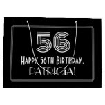 "[ Thumbnail: 56th Birthday — Art Deco Inspired Look ""56"" & Name Gift Bag ]"