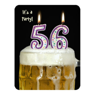 56th Birthday Beer Party 4.25x5.5 Paper Invitation Card