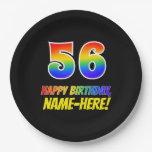 [ Thumbnail: 56th Birthday: Bold, Fun, Simple, Rainbow 56 Paper Plate ]