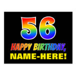 [ Thumbnail: 56th Birthday: Bold, Fun, Simple, Rainbow 56 Postcard ]