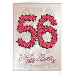 56th birthday card with roses and leaves