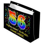 [ Thumbnail: 56th Birthday - Colorful Music Symbols, Rainbow 56 Gift Bag ]