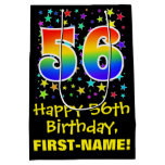 [ Thumbnail: 56th Birthday: Colorful Stars Pattern & Rainbow 56 Gift Bag ]