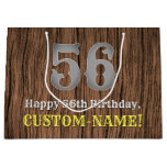 [ Thumbnail: 56th Birthday: Country Western Inspired Look, Name Gift Bag ]