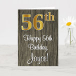 [ Thumbnail: 56th Birthday: Elegant Faux Gold Look #, Faux Wood Card ]