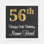 [ Thumbnail: 56th Birthday ~ Elegant Luxurious Faux Gold Look # Napkins ]