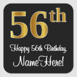 [ Thumbnail: 56th Birthday – Elegant Luxurious Faux Gold Look # Sticker ]