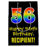 "[ Thumbnail: 56th Birthday: Fun, Bold, Colorful, Rainbow ""56"" Gift Bag ]"