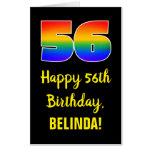 [ Thumbnail: 56th Birthday: Fun, Colorful, Happy, Rainbow # 56 Card ]