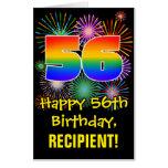 [ Thumbnail: 56th Birthday: Fun Fireworks Pattern & Rainbow 56 Card ]