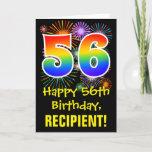 [ Thumbnail: 56th Birthday: Fun Fireworks Pattern + Rainbow 56 Card ]