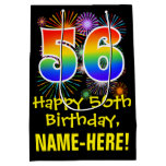 [ Thumbnail: 56th Birthday: Fun Fireworks Pattern + Rainbow 56 Gift Bag ]