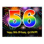 [ Thumbnail: 56th Birthday – Fun Fireworks Pattern + Rainbow 56 Postcard ]