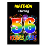 "[ Thumbnail: 56th Birthday - Fun Fireworks, Rainbow Look ""56"" Postcard ]"