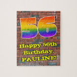 [ Thumbnail: 56th Birthday: Fun Graffiti-Inspired Rainbow 56 Jigsaw Puzzle ]