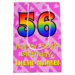 [ Thumbnail: 56th Birthday: Fun Pink Hearts Stripes; Rainbow 56 Gift Bag ]