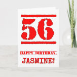 [ Thumbnail: 56th Birthday: Fun, Red Rubber Stamp Inspired Look Card ]