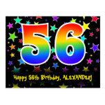 [ Thumbnail: 56th Birthday: Fun Stars Pattern, Rainbow 56, Name Postcard ]