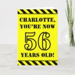 [ Thumbnail: 56th Birthday: Fun Stencil Style Text, Custom Name Card ]