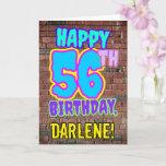 [ Thumbnail: 56th Birthday - Fun, Urban Graffiti Inspired Look Card ]