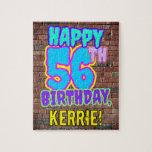 [ Thumbnail: 56th Birthday ~ Fun, Urban Graffiti Inspired Look Jigsaw Puzzle ]