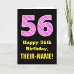 "[ Thumbnail: 56th Birthday: Pink Stripes and Hearts ""56"" + Name Card ]"
