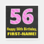 "[ Thumbnail: 56th Birthday: Pink Stripes and Hearts ""56"" + Name Napkins ]"