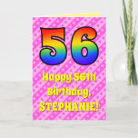 [ Thumbnail: 56th Birthday: Pink Stripes & Hearts, Rainbow # 56 Card ]