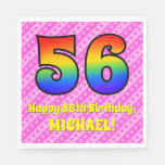 [ Thumbnail: 56th Birthday: Pink Stripes & Hearts, Rainbow # 56 Napkins ]