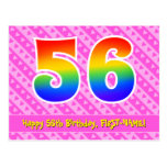 [ Thumbnail: 56th Birthday: Pink Stripes & Hearts, Rainbow 56 Postcard ]