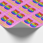 [ Thumbnail: 56th Birthday: Pink Stripes & Hearts, Rainbow # 56 Wrapping Paper ]