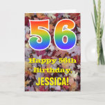 "[ Thumbnail: 56th Birthday; Rustic Autumn Leaves; Rainbow ""56"" Card ]"