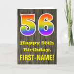 "[ Thumbnail: 56th Birthday: Rustic Faux Wood Look, Rainbow ""56"" Card ]"