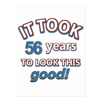 56th year birthday designs postcard