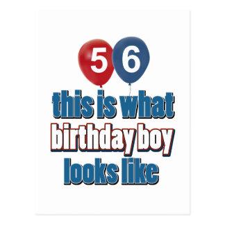 56th year old birthday designs postcard