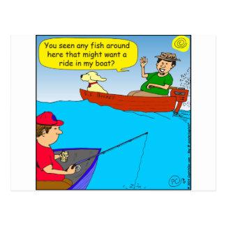 577 fish ride in boat cartoon postcard
