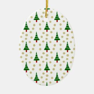 579 Cute Christmas tree and snowflake pattern.jpg Ceramic Ornament
