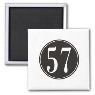 #57 Black Circle 2 Inch Square Magnet