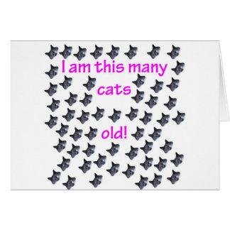 57 cabezas del gato viejas tarjeta de felicitación