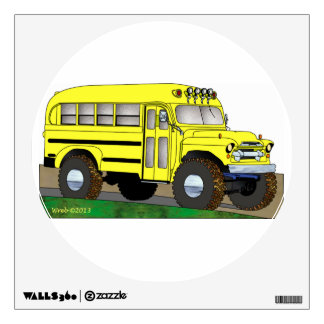57 Chevrolet Off Road 4X4 School Bus Wall Decal