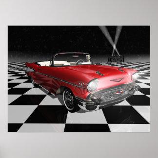 '57 Chevy en el tablero de damas Póster