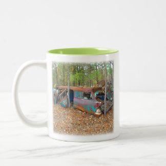 57 Chevy Nomad Rusting in Junkyard Two-Tone Coffee Mug