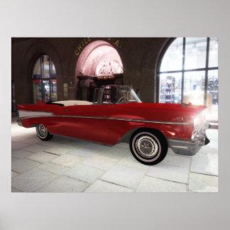 ¡'57 Chevy - rojo - alta resolución! Póster