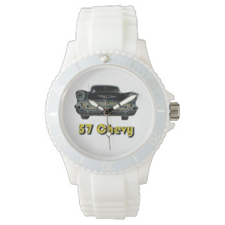 57 Chevy Sporty with White Silicone Strap Watch