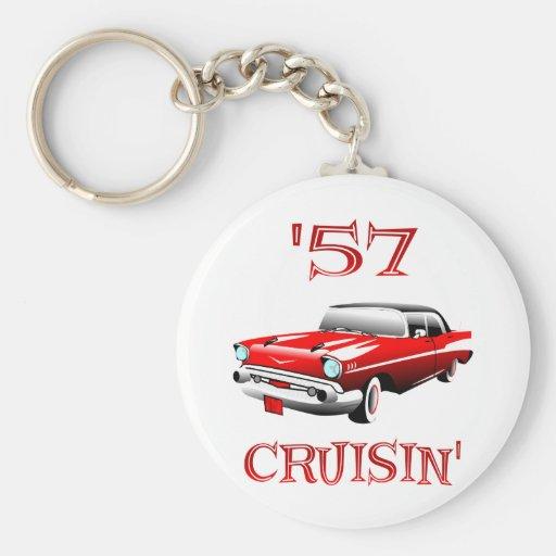 57 Crusin Car Basic Round Button Keychain