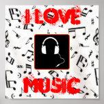 57MusicNotes, headphones1, I LOVE, MUSIC Print