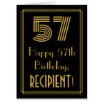 "[ Thumbnail: 57th Birthday: Art Deco Inspired Look ""57"" + Name Card ]"