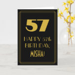 "[ Thumbnail: 57th Birthday ~ Art Deco Inspired Look ""57"" & Name Card ]"