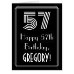 "[ Thumbnail: 57th Birthday — Art Deco Inspired Look ""57"" + Name Card ]"