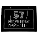 "[ Thumbnail: 57th Birthday — Art Deco Inspired Look ""57"" & Name Gift Bag ]"